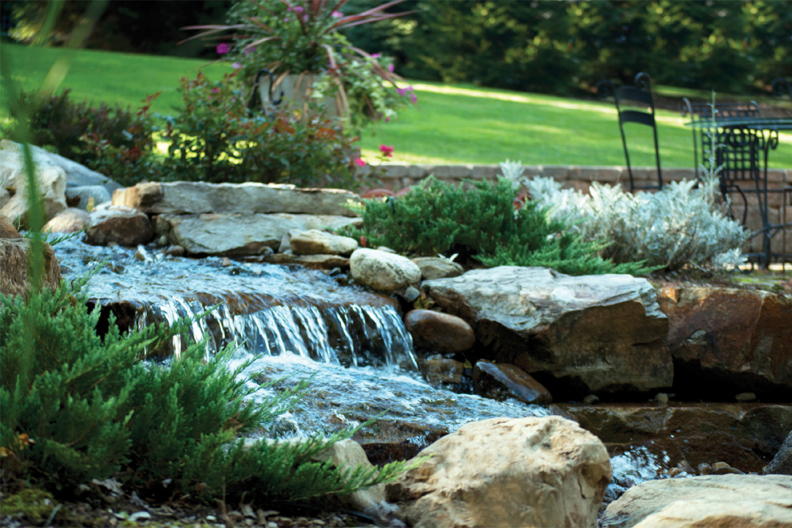 Landscape supplies south shore back yard living for Waterfall supplies